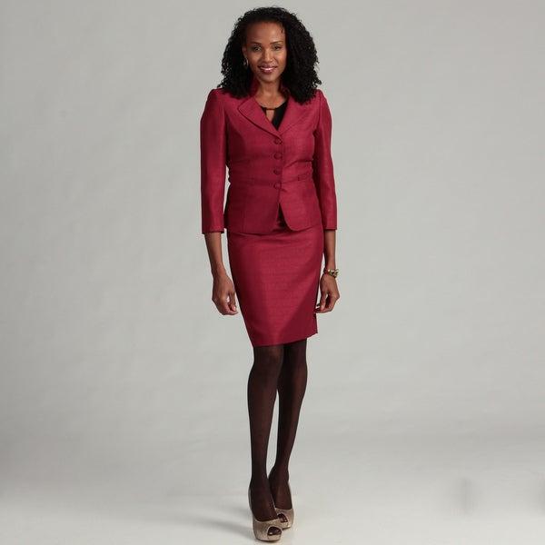 Tahari ASL Women's 2-piece Wine Jacquard Novelty Skirt Suit