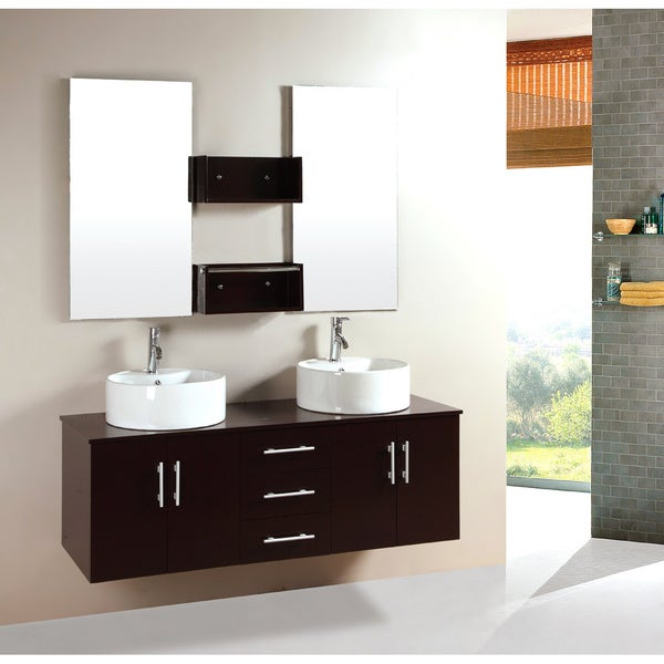 Kokols 59 Inch Bathroom Double Sink Vanity With Mirror And Faucets Overstock Shopping Great