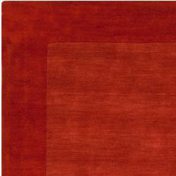 Hand-crafted Orange Tone-On-Tone Bordered Pechora Wool Rug (6' x 9')