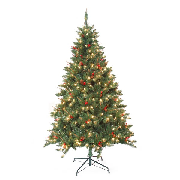 Pre-Lit Berrywood Pine 7-foot Artificial Christmas Tree