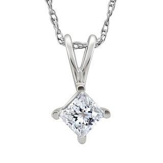 Platinum 1/3ct TDW Princess-cut Diamond Solitaire Necklace (G-H, SI1-SI2)