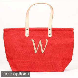 Personalized Red Nantucket Jute Tote