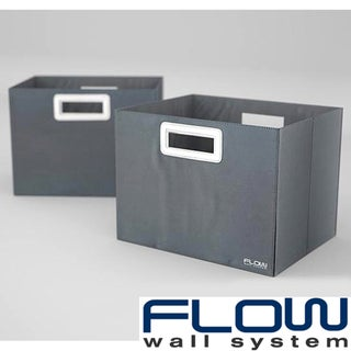 Flow Wall Decor Jumbo Collapsible Titanium Storage Bins (Set of 2)