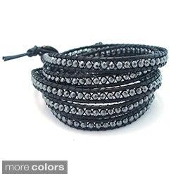 Leather Gemstone Facets Wrap Bracelet (Thailand)