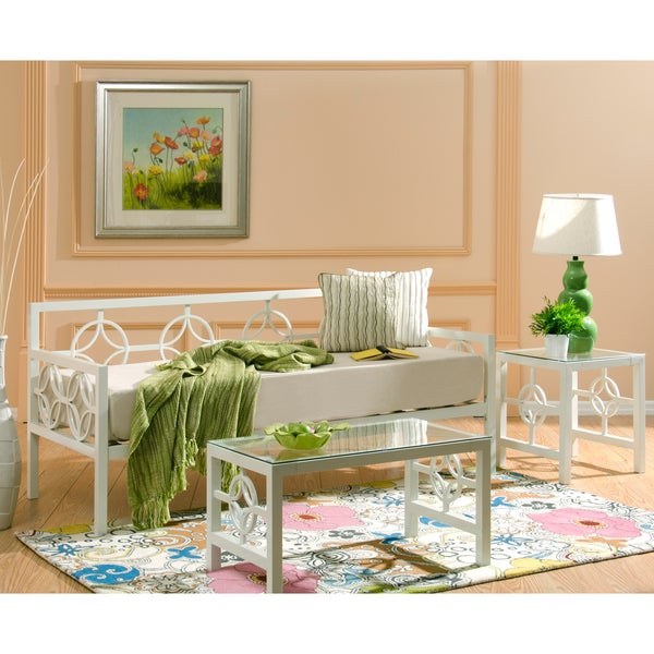 Medallion Marshmallow White Twin Daybed and Memory Foam Mattress