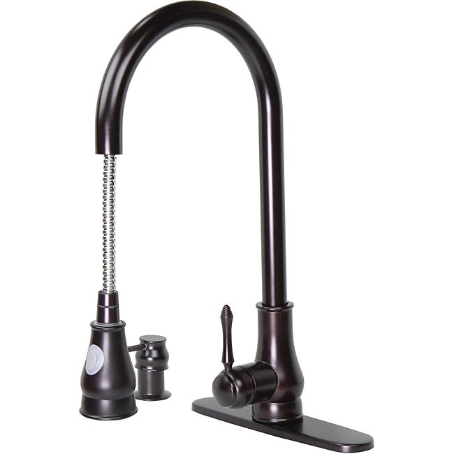 Dyconn 18-inch Modern Kitchen Oil Rubbed Bronze Pull-out Faucet with Soap Dispenser