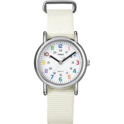 Timex Women's T2N8379J Weekender Slip Thru White Nylon Strap Watch