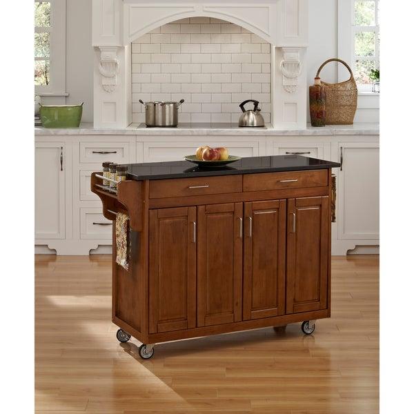 Cottage Oak Finish Black Granite Top Create-a-Cart