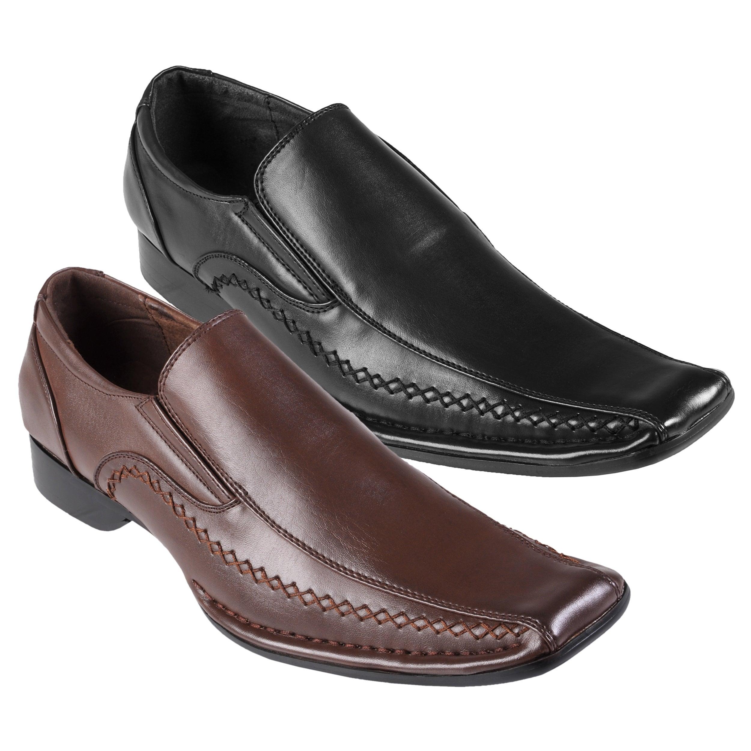 Boston Traveler Men's Stitch Detail Square Toe Slip-on Loafers
