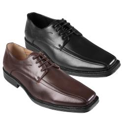 Boston Traveler Men's Topstitched Lace-Up Square Toe Loafer-Style Oxfords