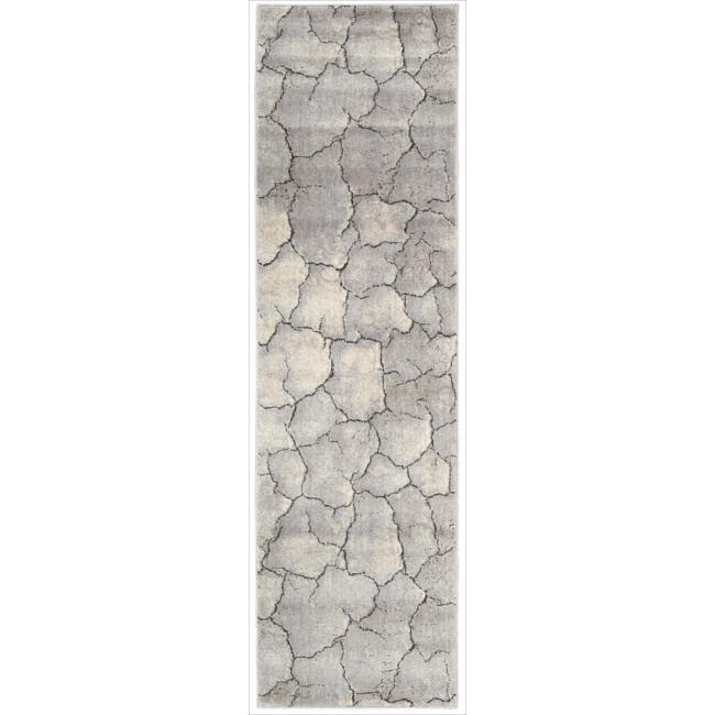 Nourison Utopia Gray Abstract Runner Rug (2'3 x 8')