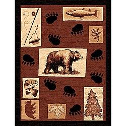 Lodge Design 366 Bear Fish and Tree Brown Area Rug (5' x 7')