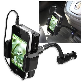 INSTEN Black All-in-one FM Transmitter with Audio Cable & Microphone