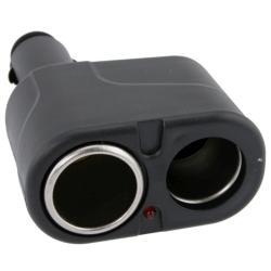 INSTEN Black 2-Way Car Cigarette Lighter Socket Splitter