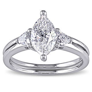 Miadora 14k White Gold 1 1/2ct TDW Certified Marquise-cut Diamond Ring (F, SI2)