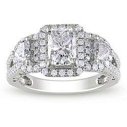 Miadora 14k White Gold 2ct TDW Cushion-cut Diamond Ring (H-I, I1-I2)