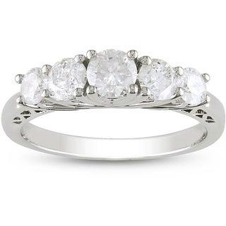 Miadora 10k White Gold 1ct TDW Diamond Anniversary Ring (H-I, I2-I3)