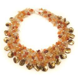Orange Carnelian and Seashells Cluster Stone Toggle Necklace (Philippines)
