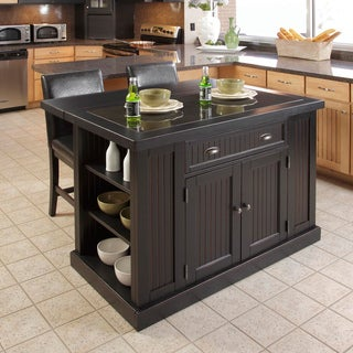 Nantucket Distressed Black Finish Kitchen Island with Two Bar Stools