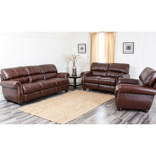 ABBYSON LIVING Ashley Premium Top-grain Leather Sofa, Loveseat, and Armchair Set
