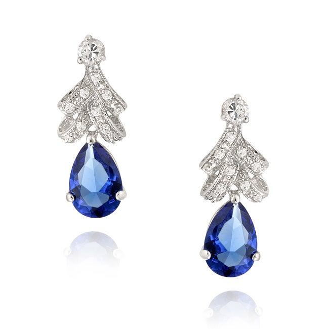 Icz Stonez Sterling Silver Tanzanite CZ Teardrop Earrings