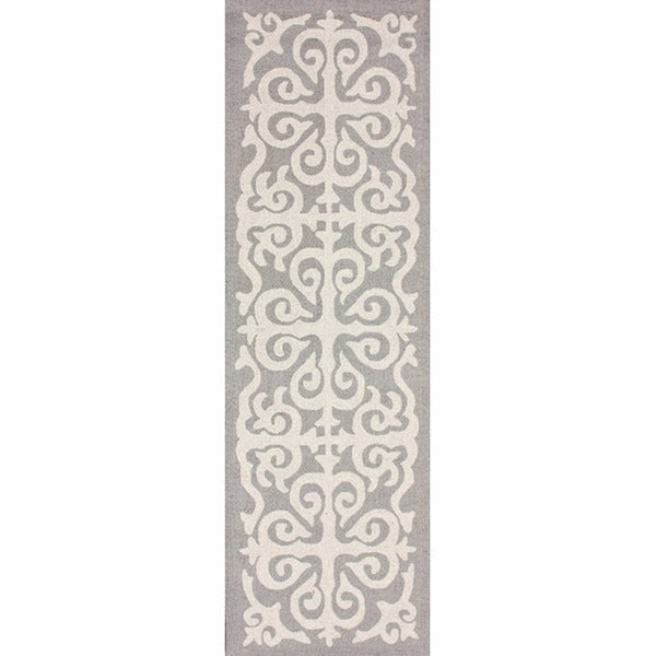 nuLOOM Handmade Marrakesh Fez Grey Wool Runner (2'6 x 8')