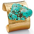 PalmBeach  Goldtone Turquoise Cuff Bracelet Naturalist
