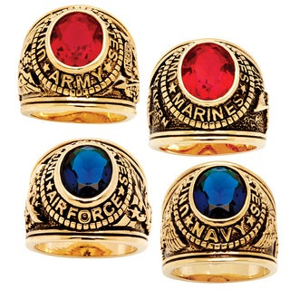 PalmBeach Goldplated Men's Red or Blue Crystal Military Ring