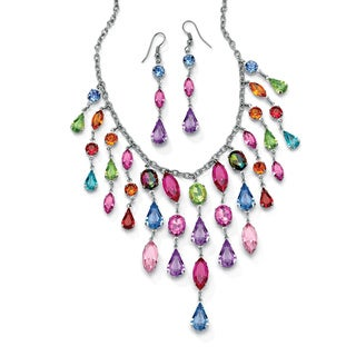 PalmBeach Silvertone Multi-colored Crystal Necklace and Earring Set Color Fun