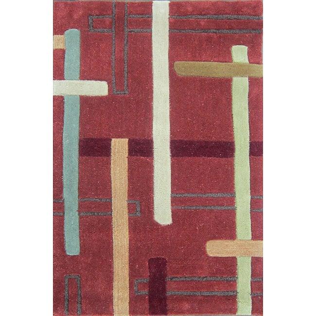 Hand-tufted Chalice Rust Rug (2' x 3')
