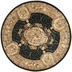 Safavieh Handmade French Aubusson Black Premium Wool Rug (8' Round)