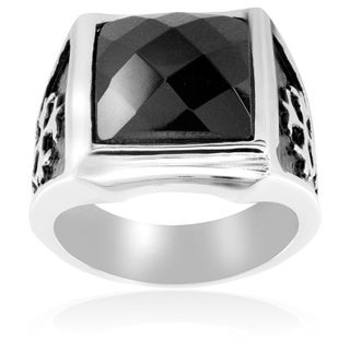Stainless Steel Royal Cross and Black CZ Ring