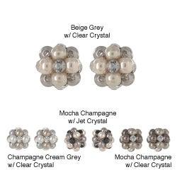 Roman Faux Pearl Crystal Beehive Button Earrings