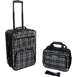 Rockland Black Cross 2-Piece Lightweight Carry-On Luggage Set