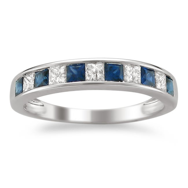 14k White Gold Sapphire and 1/4ct TDW Diamond Wedding Band (H-I, I1-I2)