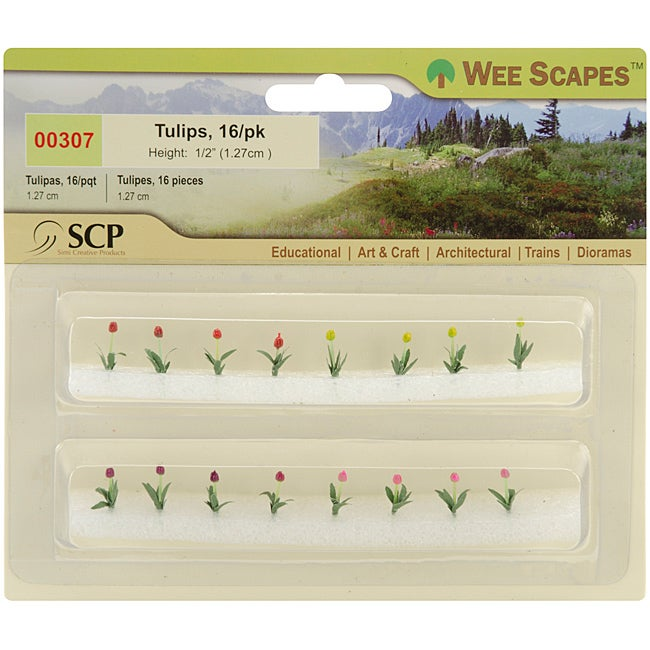 Wee Scapes Miniature Plastic Tulip 16 Pack for Models and Dioramas