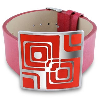 M by Miadora Stainless Steel Red Epoxy and Red Leather 7-inch Bracelet