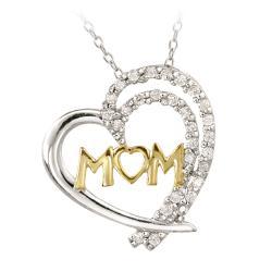 Icz Stonez Two-tone Silver Cubic Zirconia 'Mom' Heart Necklace