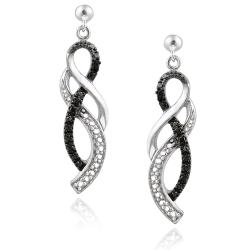 DB Designs Sterling Silver Black Diamond Accent Twist Dangle Earrings