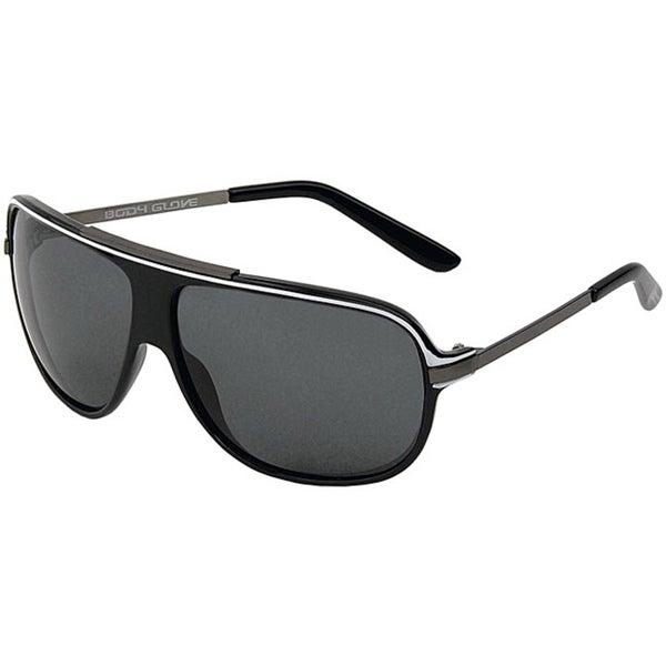 Body Glove 'Nauset Beach' Men's Shiny Black/Smoke Polarized Sunglasses