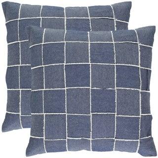 Safavieh Denim Blue 18-inch Decorative Pillows (Set of 2)
