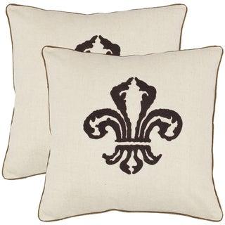 Safavieh Fleur-de-lis 18-inch Beige Decorative Pillows (Set of 2)