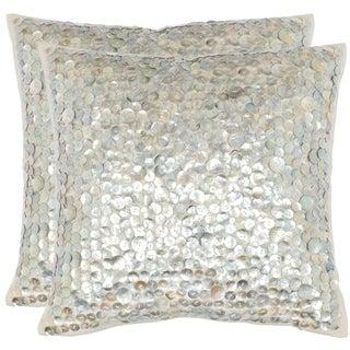 Safavieh Dazzle 18-inch Silver Decorative Pillows (Set of 2)