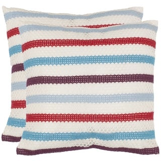 Safavieh Honeycomb 18-inch Red/ White Decorative Pillows (Set of 2)
