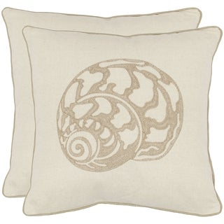 Safavieh Sea Shell 18-inch Cream Decorative Pillows (Set of 2)