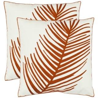 Safavieh Fern 18-inch White Decorative Pillows (Set of 2)