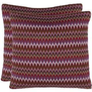 Safavieh Zigs 18-inch Raspberry Red Decorative Pillows (Set of 2)