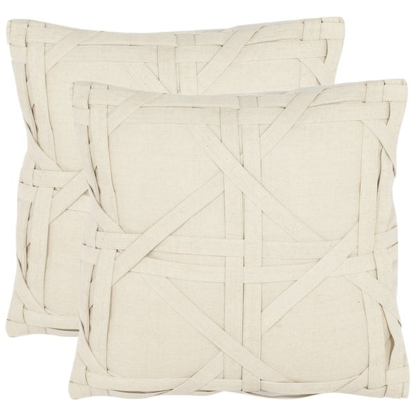 Safavieh Cane Weave 18-inch Beige Decorative Pillows (Set of 2)