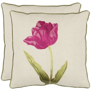 Safavieh Solitude 18-inch White/ Fuchsia Decorative Pillows (Set of 2)