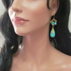 Blue Teardrop Turquoise Square Net Brass Dangle Earrings (Thailand)